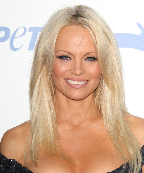 Pamela Anderson Long Straight Casual Hairstyle - Light Blonde Hair Color