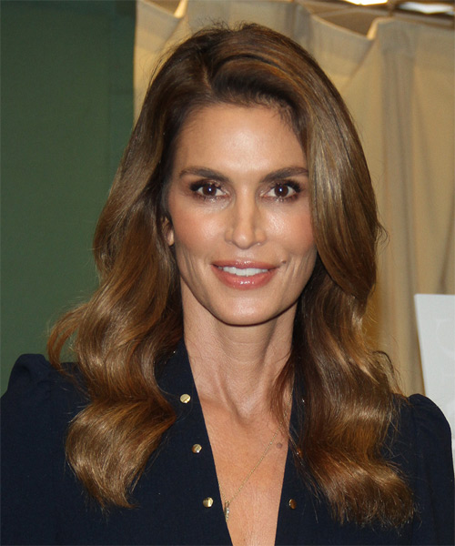 Cindy Crawford Long Wavy Casual Hairstyle - Medium Brunette Hair Color