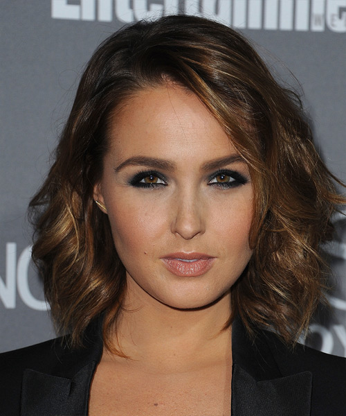 Camilla Luddington Medium Wavy Casual Hairstyle - Dark Brunette Hair Color