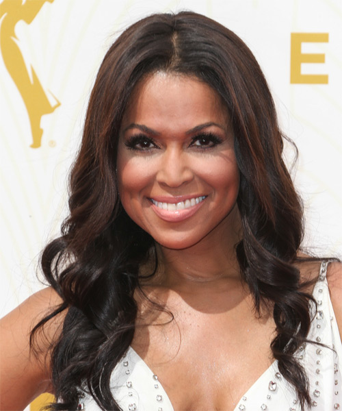 Tracey E Edmonds Long Wavy Formal Hairstyle - Dark Brunette Hair Color