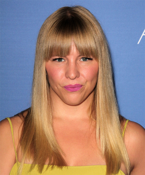 Sara Coates Long Straight Casual Hairstyle with Blunt Cut Bangs - Dark Blonde (Golden) Hair Color