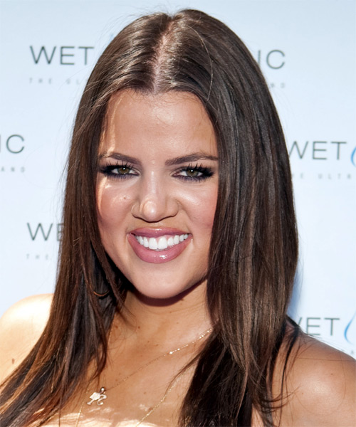 Khloe Kardashian Long Straight Casual Hairstyle - Medium Brunette (Chocolate) Hair Color