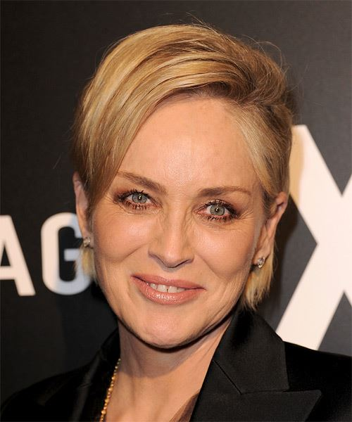 Sharon Stone Short Straight Casual Hairstyle - Medium Blonde (Golden) Hair Color
