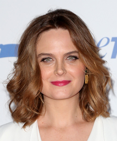 Emily Deschanel Medium Wavy Casual Hairstyle - Medium Brunette (Auburn) Hair Color