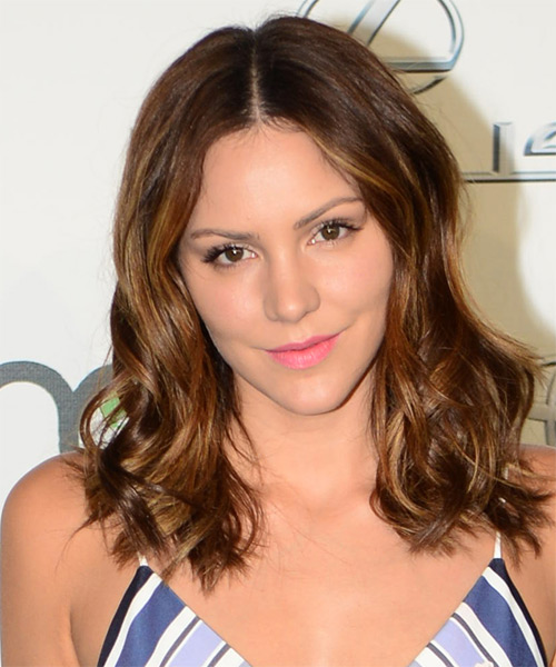 Katharine McPhee Medium Wavy Casual Hairstyle - Medium Brunette Hair Color
