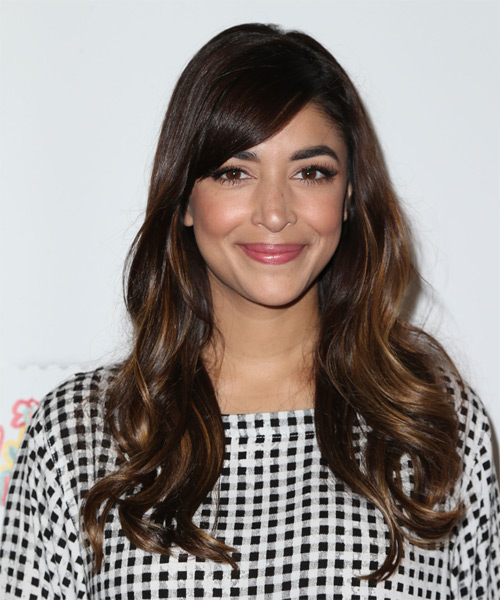 Hannah Simone Long Wavy Formal Hairstyle with Side Swept Bangs - Dark Brunette Hair Color