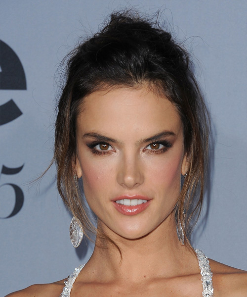 Alessandra Ambrosio Long Straight Casual Updo Hairstyle