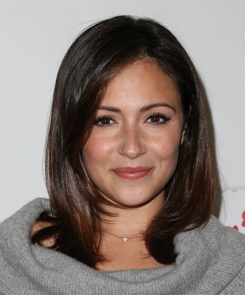 Italia Ricci Medium Straight Formal Hairstyle - Dark Brunette Hair Color