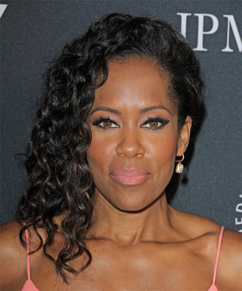 Regina King Long Curly Formal Hairstyle - Black Hair Color