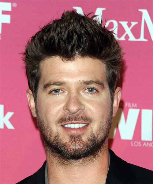Robin Thicke Short Straight Hairstyle (Chestnut)