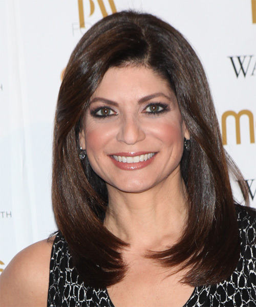 Tamsen Fadal Long Straight Formal Hairstyle - Dark Brunette (Mocha) Hair Color