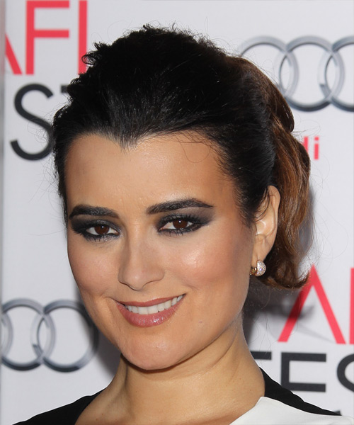 Cote de Pablo Long Wavy Formal Updo Hairstyle - Black Hair Color