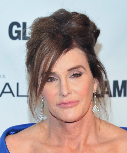 Caitlyn Jenner Long Straight Casual Updo Hairstyle - Medium Brunette (Chocolate) Hair Color