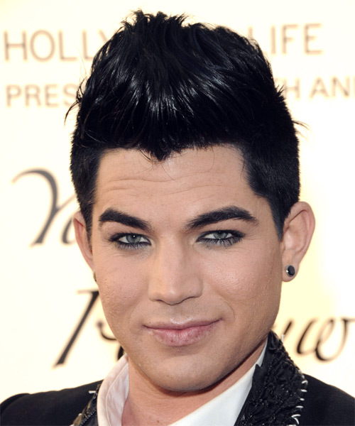 Adam Lambert Short Straight Hairstyle - Black (Ash)