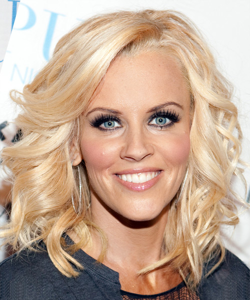 Jenny McCarthy Long Wavy Formal Hairstyle - Light Blonde (Strawberry) Hair Color
