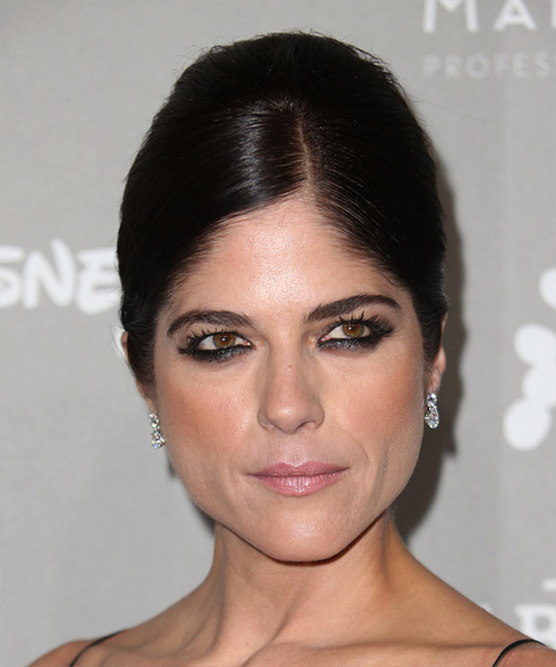 Selma Blair Long Straight Formal Wedding Updo - Dark Brunette