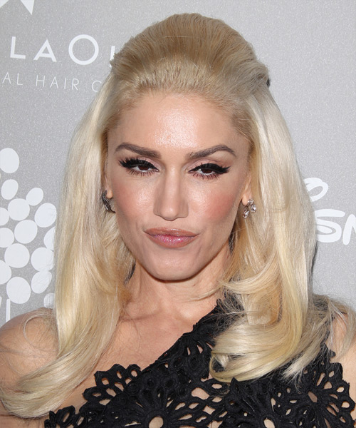 Gwen Stefani Long Straight Formal Half Up Hairstyle - Light Blonde Hair Color