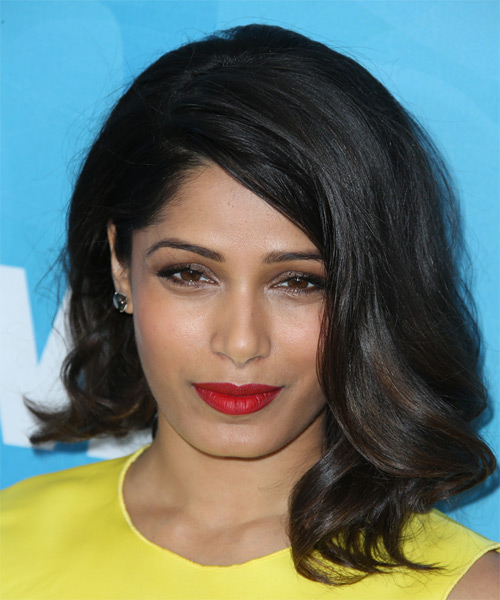 Freida Pinto Medium Wavy Formal Hairstyle - Black Hair Color