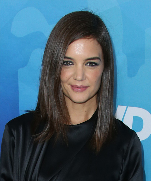 Katie Holmes Long Straight Casual Hairstyle (Chocolate)