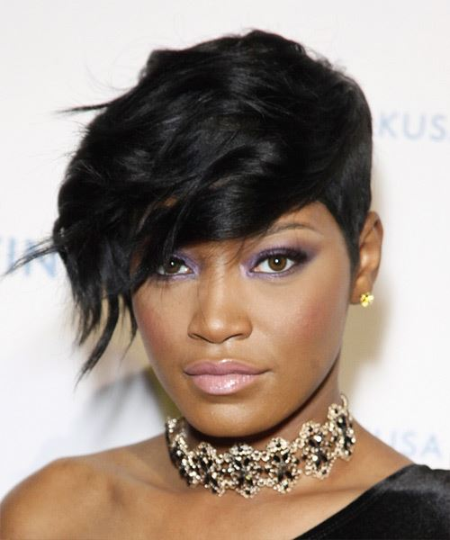 Keke Palmer Short Wavy Hairstyle - Black