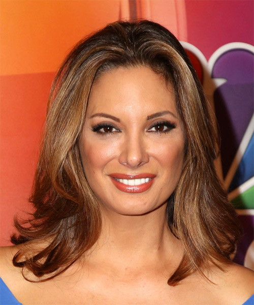 Alex Meneses Medium Straight Formal Hairstyle - Medium Brunette Hair Color