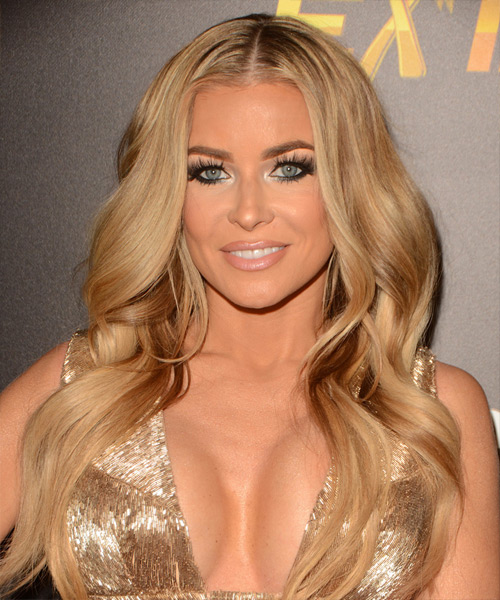 Carmen Electra Long Wavy Formal Hairstyle - Medium Blonde (Honey) Hair Color