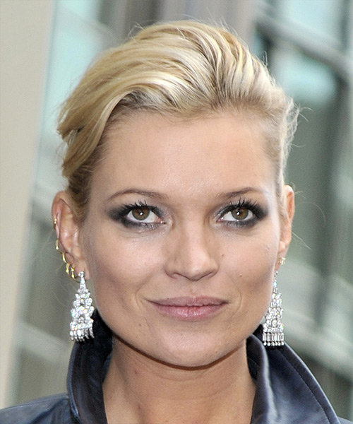 Kate Moss Straight Casual Updo Hairstyle