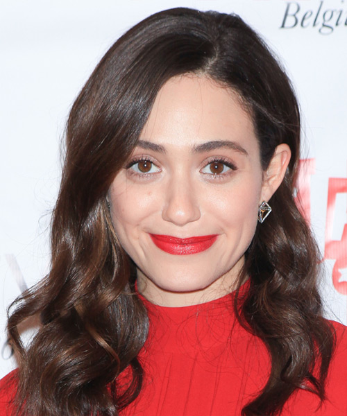 Emmy Rossum Long Wavy Casual Hairstyle (Chocolate)