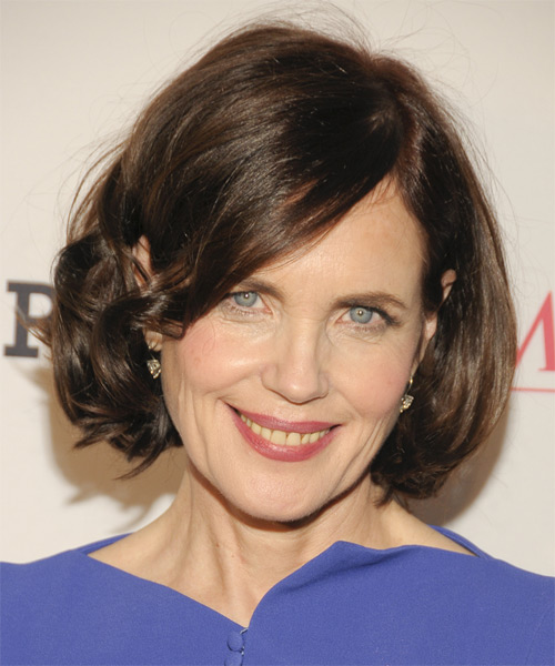 Elizabeth McGovern Medium Wavy Formal Hairstyle - Medium Brunette