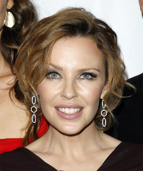 Kylie Minogue - Casual Updo Medium Curly Hairstyle