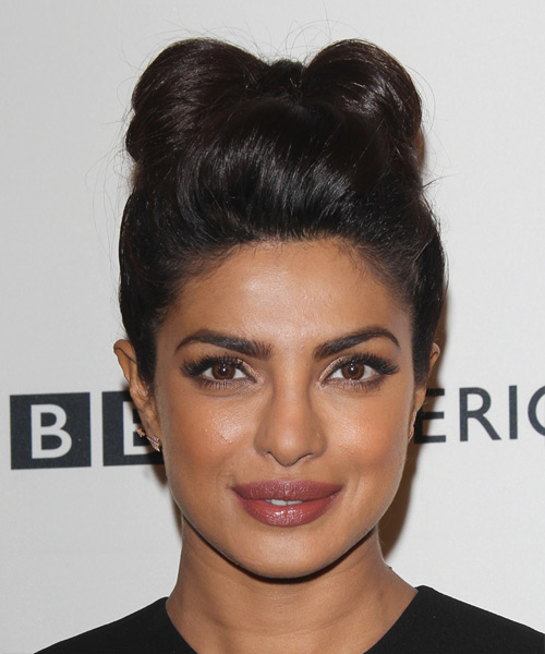 Priyanka Chopra Long Straight Formal Updo Hairstyle - Dark Brunette Hair Color
