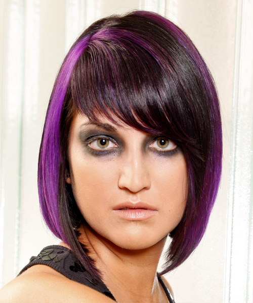 Black bob and purple highlights
