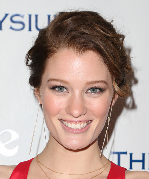 Ashley Hinshaw Long Wavy Casual Updo Hairstyle - Medium Brunette (Auburn) Hair Color