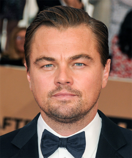 Leonardo DiCaprio Short Straight Formal Hairstyle with Side Swept Bangs - Medium Brunette Hair Color