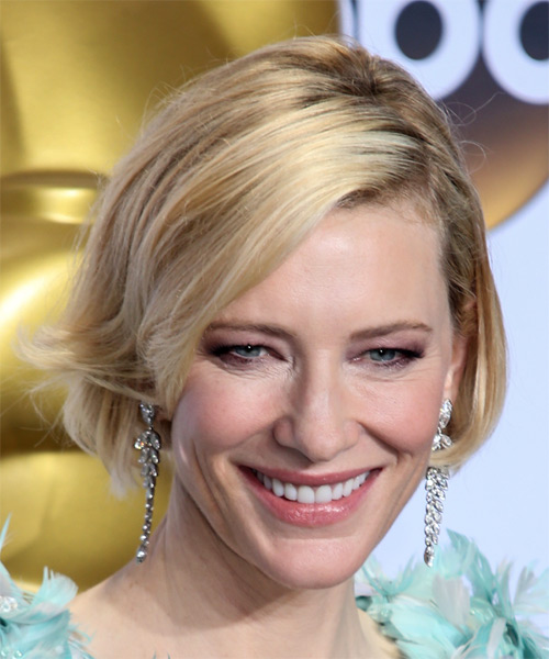 Cate Blanchett Short Straight Formal Bob Hairstyle with Side Swept Bangs - Light Blonde Hair Color