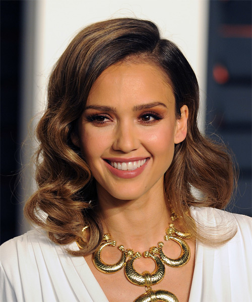 Jessica Alba Medium Wavy Formal  - Medium Brunette (Caramel)