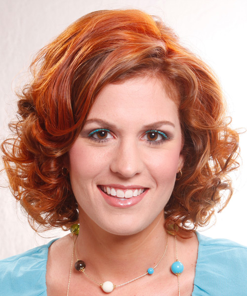 Medium Curly Formal Hairstyle - Light Red (Ginger)
