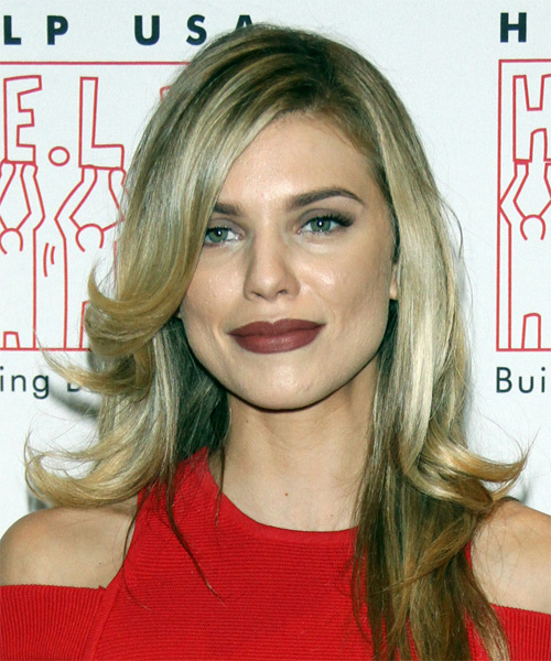 Annalynne McCord Long Straight Formal Hairstyle with Side Swept Bangs - Medium Blonde Hair Color
