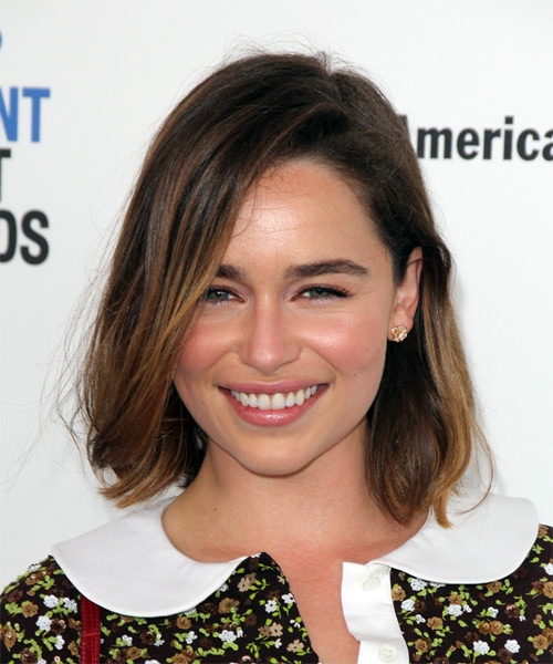 Emilia Clarke Medium Straight Casual Bob Hairstyle with Side Swept Bangs - Dark Brunette Hair Color