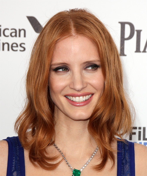 Jessica Chastain Medium Straight Casual Bob Hairstyle - Medium Red (Copper) Hair Color