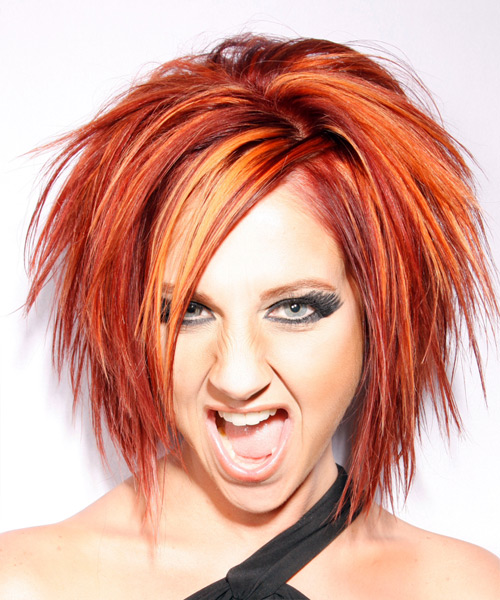 Medium Straight Alternative Hairstyle with Side Swept Bangs - Orange (Bright) Hair Color