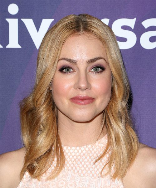 Amanda Schull Long Wavy Casual Bob Hairstyle - Dark Blonde (Golden) Hair Color