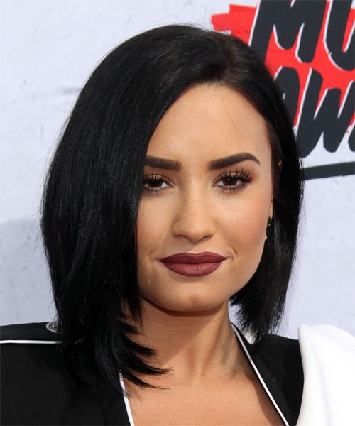 Demi Lovato Medium Straight Formal Bob Hairstyle Black Hair Color - Bob hairstyle black hair