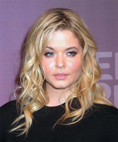 Sasha Pieterse Long Wavy Casual Hairstyle - Light Blonde (Honey) Hair Color