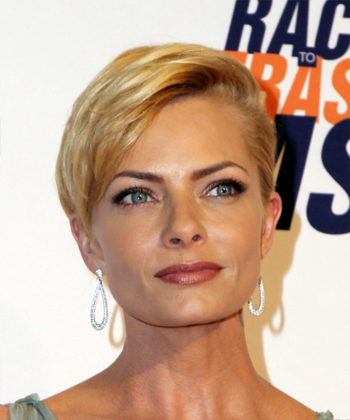 Jaime Pressly Short Straight Pixie Hairstyle - Medium Blonde (Golden)