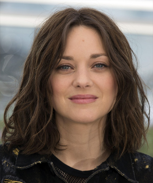 Marion Cotillard Medium Wavy Casual Bob Hairstyle  Dark Brunette