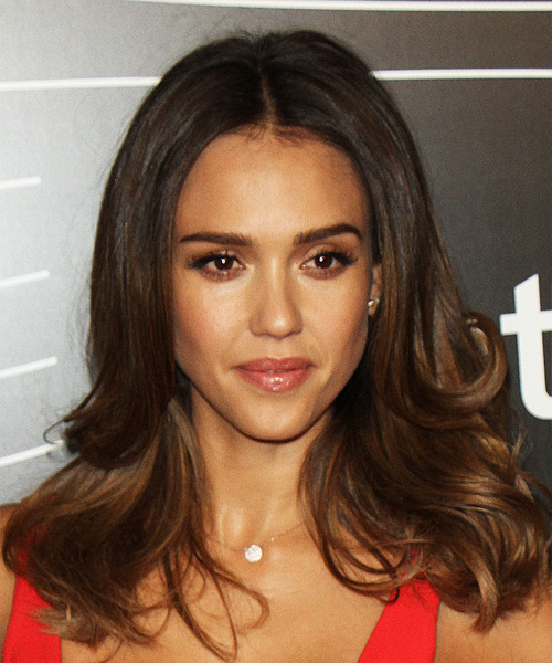 Jessica Alba Long Wavy Formal Hairstyle - Black Hair Color
