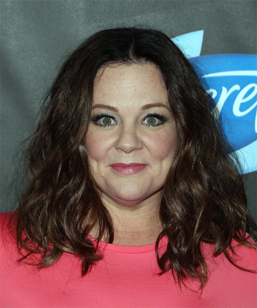 Melissa McCarthy Long Wavy Casual Bob Hairstyle - Dark Brunette (Chocolate) Hair Color
