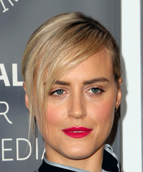 Taylor Schilling Medium Wavy Casual Updo Hairstyle with Side Swept Bangs - Light Blonde Hair Color