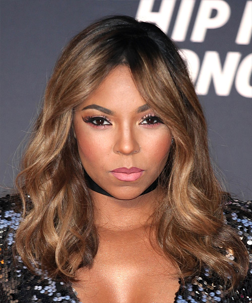 ashanti long wavy casual hairstyle brunette hair color